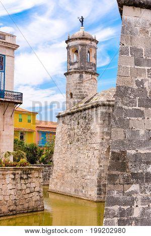 Castillo De La Real Fuerza, Havana, Cuba. Vertical. Copy Space.