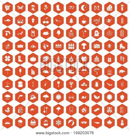 100 landscape icons set in orange hexagon isolated vector illustration