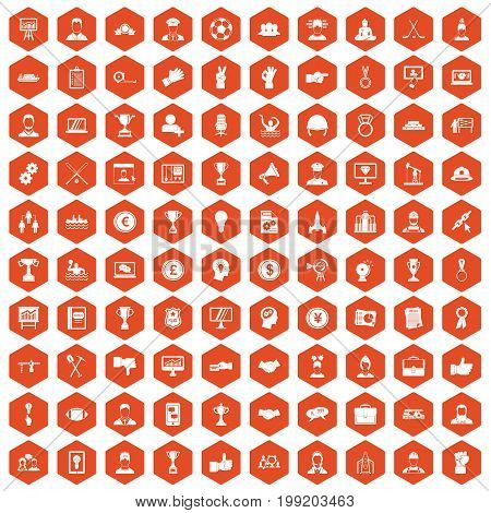 100 leadership icons set in orange hexagon isolated vector illustration