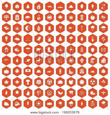 100 leaf icons set in orange hexagon isolated vector illustration