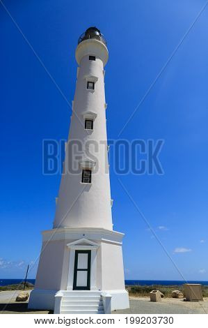 The Newly refinished white lighthouse in Aruba