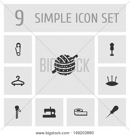 Collection Of Pins, Knitting, Machine And Other Elements.  Set Of 9 Stitch Icons Set.
