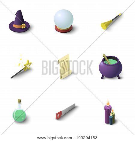 Magic icons set. Isometric set of 9 magic vector icons for web isolated on white background