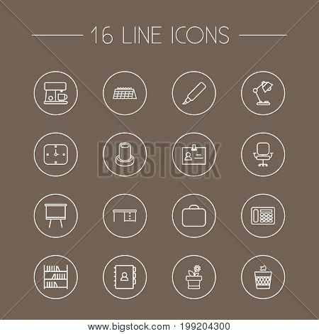 Collection Of Table Lamp, Marker, Board Stand Elements.  Set Of 16 Workspace Outline Icons Set.