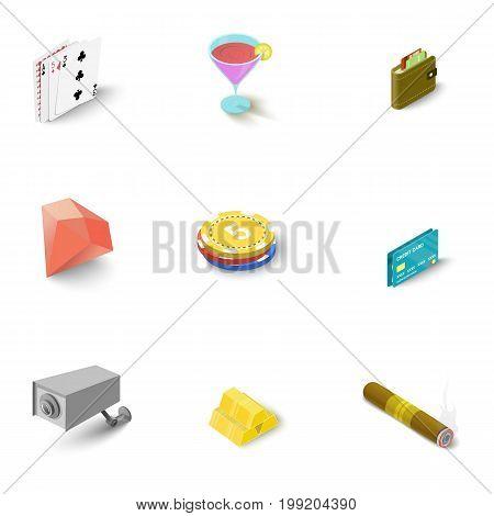 Casino icons set. Isometric set of 9 casino vector icons for web isolated on white background
