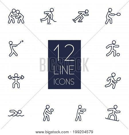 Collection Of Player, Soccer, Power-Lifting And Other Elements.  Set Of 12 Fitness Outline Icons Set.