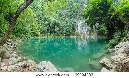Lom Phu Kiew is an emerald pool. The mystical beauty of Lampang. Unseen Thailand.