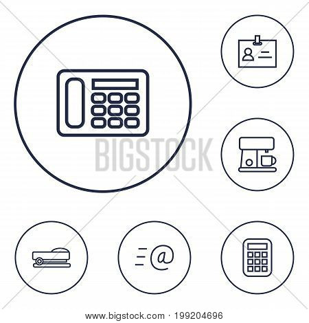 Collection Of Staple, Telephone, Coffee Maker And Other Elements.  Set Of 6 Workspace Outline Icons Set.