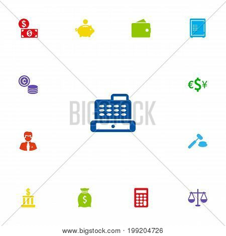 Collection Of Currency, Sack, Worker And Other Elements.  Set Of 13 Finance Icons Set.