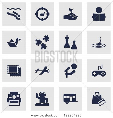 Collection Of Checkmate, Learning, Target And Other Elements.  Set Of 16 Lifestyle Icons Set.
