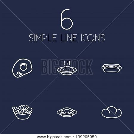 Collection Of Hotdog, Pasta, Salad And Other Elements.  Set Of 6 Dish Outline Icons Set.