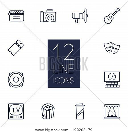 Collection Of Ticket, Speaker, Popcorn And Other Elements.  Set Of 12 Pleasure Outline Icons Set.
