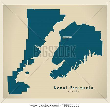 Modern Map - Kenai Peninsula Alaska County Usa Illustration