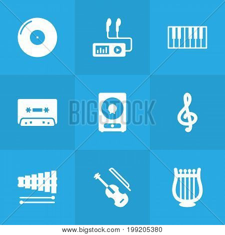 Collection Of Fiddle, Percussion, Lyre And Other Elements.  Set Of 9 Melody Icons Set.