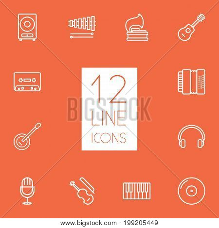 Collection Of Acoustic, Amplifier, Vinyl And Other Elements.  Set Of 12 Song Outline Icons Set.