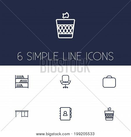 Collection Of Wastebasket, Briefcase, Desk And Other Elements.  Set Of 6 Office Outline Icons Set.