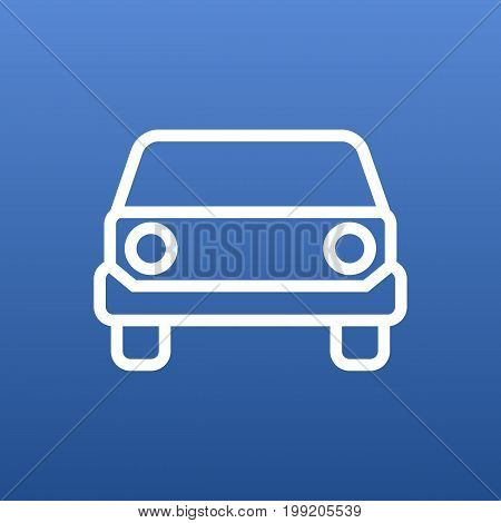 Vector Front View Element In Trendy Style.  Isolated Car Outline Symbol On Clean Background.