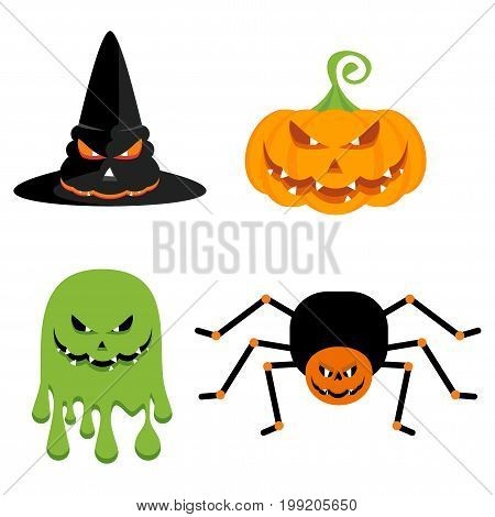 Evil green ghost, a witch hat, a pumpkin and a spider with sharp teeth and terrible eyes. Halloween character. Flat vector cartoon illustration. Objects isolated on a white background.