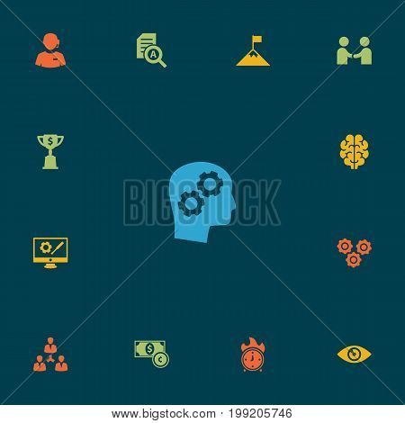 Collection Of Document Checking, Repair Service, Thinking Head And Other Elements.  Set Of 13 Idea Icons Set.