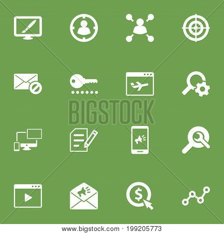 Collection Of Airplane, Author Rights, Resulting And Other Elements.  Set Of 16 Search Icons Set.