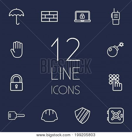 Collection Of Walkie-Talkie, Safe, Lock And Other Elements.  Set Of 12 Procuring Outline Icons Set.