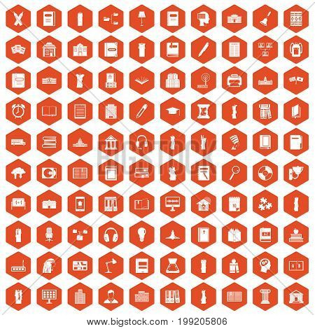 100 library icons set in orange hexagon isolated vector illustration