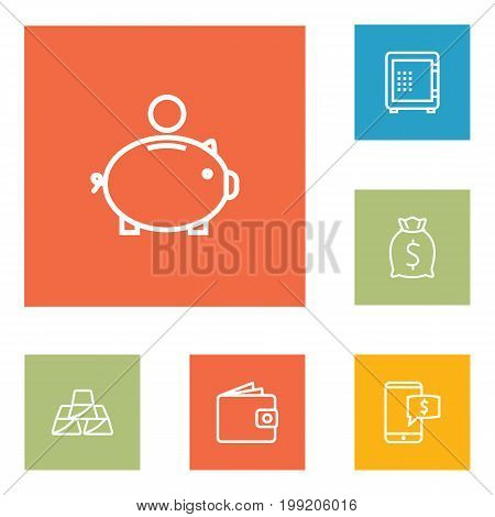 Collection Of Moneybag, Electron Payment, Money Box And Other Elements.  Set Of 6 Budget Outline Icons Set.