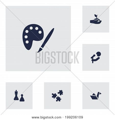 Collection Of Checkmate, Jigsaw, Drawing And Other Elements.  Set Of 6 Lifestyle Icons Set.