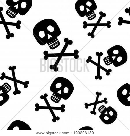 Skull and crossbones seamless pattern. Jolly Roger. Halloween Design Element. Flat vector cartoon illustration. Objects isolated on background.