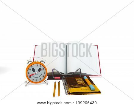 Concept Of School And Education Lesson Microscope Notebook 3D Rendering On White Background
