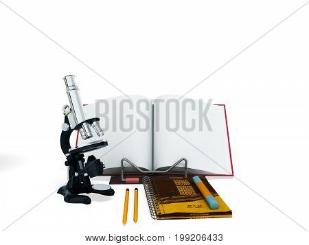 Concept Of School And Education Biology Microscope Notebook 3D Render On White Background