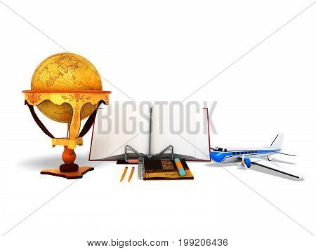 Concept School And Education Geography Globe 3D Render On White Background