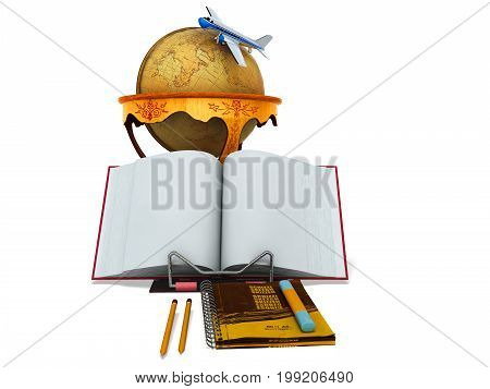 Concept School And Geography Education Globe 3D Render Plane On White Background