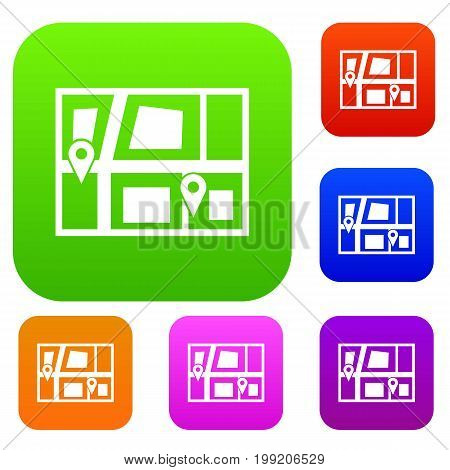 Geo location of taxi set icon in different colors isolated vector illustration. Premium collection