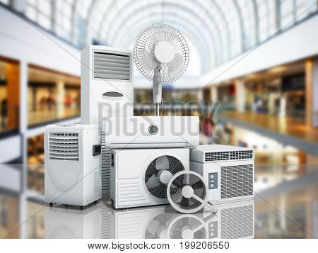 Air Conditioning Equipment 3D Rensder On Shopping Center Background