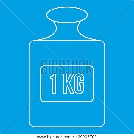 Weight sign icon blue outline style isolated vector illustration. Thin line sign