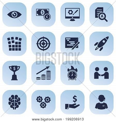Collection Of Money Growth, Vision, Startup Building And Other Elements.  Set Of 16 Strategy Icons Set.