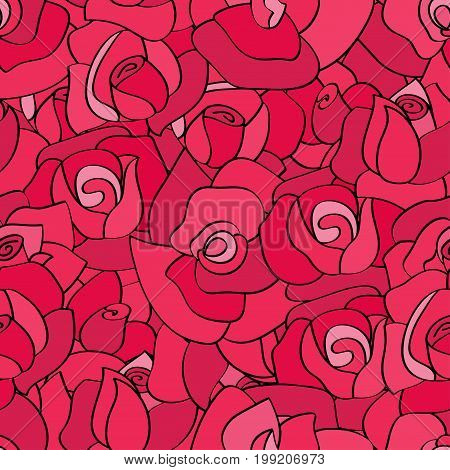 Vector seamless pattern with line roses. Hand-drawn flowers with with contours for background greeting cards and invitations of the wedding, birthday, Valentines Day