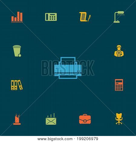Collection Of Telephone, Calculator, Printer And Other Elements.  Set Of 13 Cabinet Icons Set.