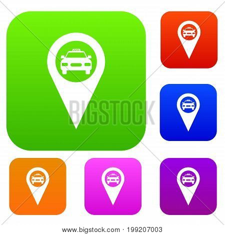 Geo taxi set icon in different colors isolated vector illustration. Premium collection