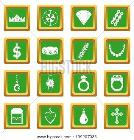 Jewelry items icons set in green color isolated vector illustration for web and any design