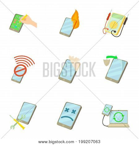 Phone repair icons set. Cartoon set of 9 phone repair vector icons for web isolated on white background