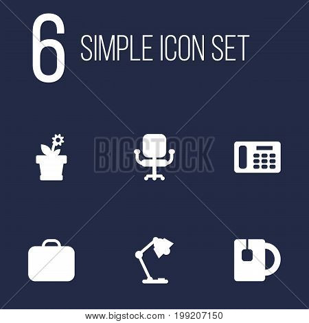 Collection Of Phone, Illuminator, Case And Other Elements.  Set Of 6 Workspace Icons Set.