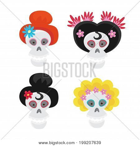 Set with colorful skulls for day of the dead. Sugar skuuls for mexican day of the dead. Cute skulls and flowers in a cartoon style.