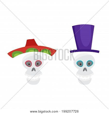 Set with colorful skulls for day of the dead. Sugar skuuls for mexican day of the dead. Cute skulls with sombrero and topper in a cartoon style.