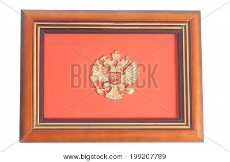 Emblem of Russia on frame isolated on white background