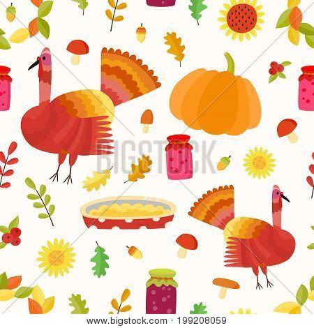 Vector Thanksgiving seamless pattern. Repeating autumn background. Illustration with turkey, acorns, jams, mushrooms, pumpkin, apple and pie