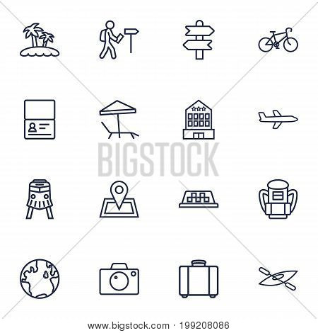 Collection Of Case, Photo, Building And Other Elements.  Set Of 16 Journey Outline Icons Set.