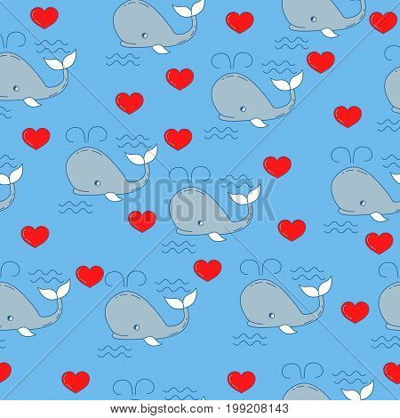 Seamless pattern with whales. Vector abstract fish seamless pattern, whales and hearts. Background for textile or book covers, construction, print, gift wrapping and scrapbooking.