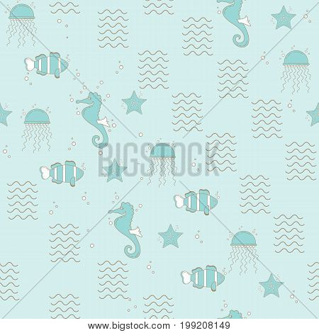Vector seamless pattern with sea fauna. Background with starfish, sea horse, jellyfish, fish, crab.